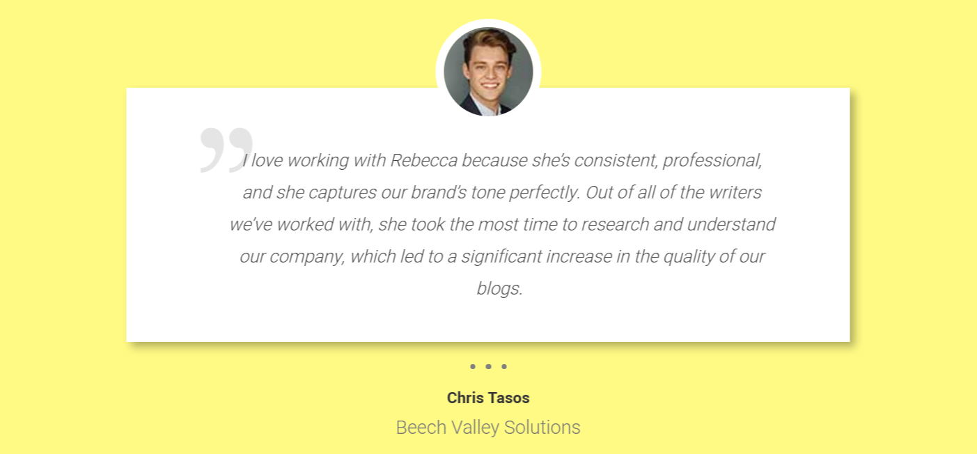 Rebecca Rosenberg copywriter, customer testimonial great copywriter